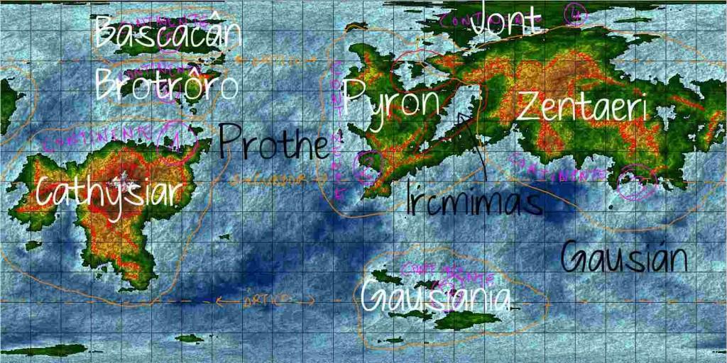 Borrador del mapa con los nombres de continentes y océanos