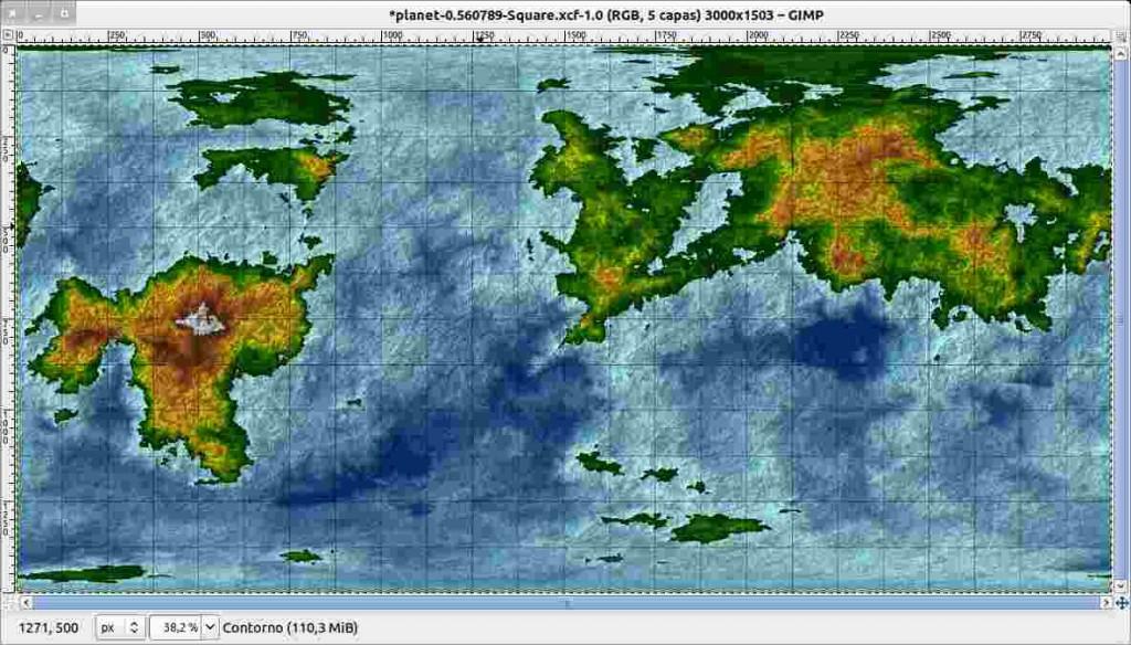 Ventana de Gimp con el mapa con bump-mapping y las tres capas superiores superpuestas