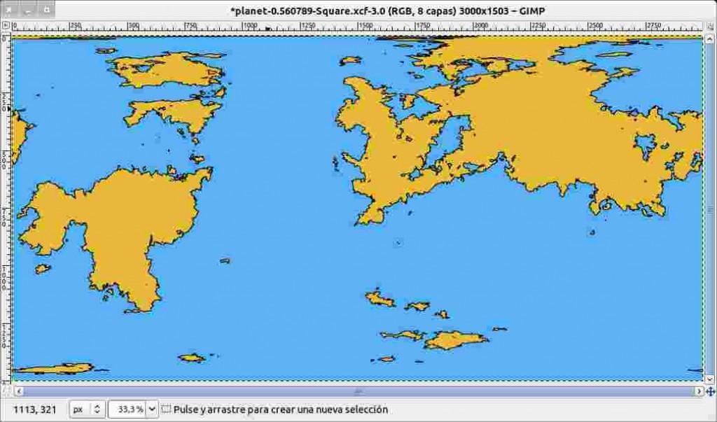 Mapa con los primeros colores aplicados