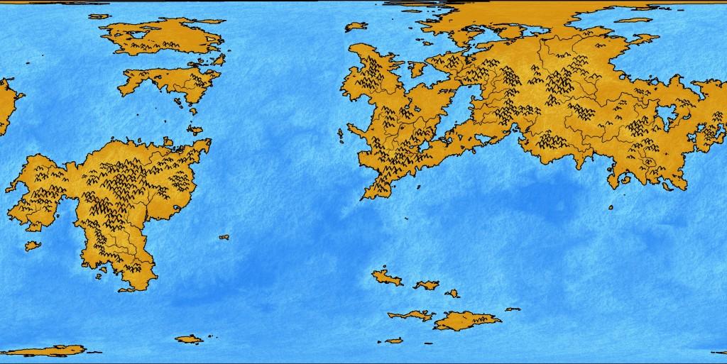 "Mapa con una textura aplicada, a partir del mapa de ""planet"" con ""bump-mapping""."