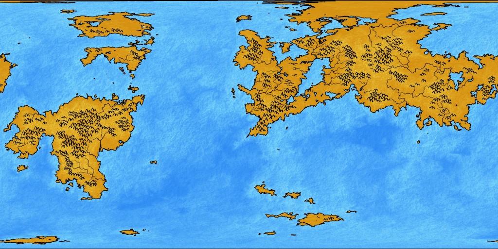 El mapa, con texturas, montañas, ríos y alguna colina.