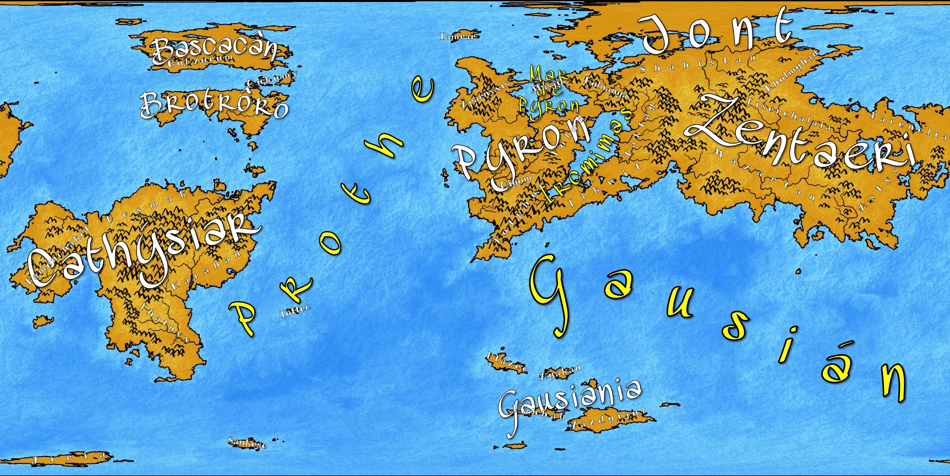 Mapa con nombres de grandes y pequeñas regiones